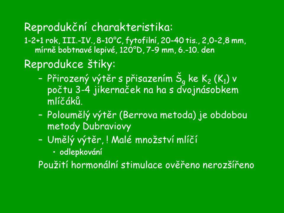 Reprodukční charakteristika: 1-2+1 rok, III.-IV., 8-10°C, fytofilní, 20-40 tis., 2,0-2,8 mm, mírně bobtnavé lepivé, 120°D, 7-9 mm, 6.-10.