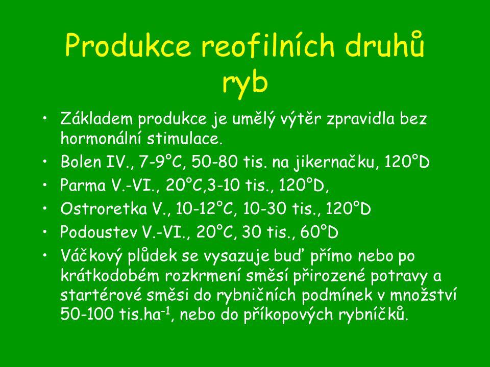 Produkce reofilních druhů ryb Základem produkce je umělý výtěr zpravidla bez hormonální stimulace.