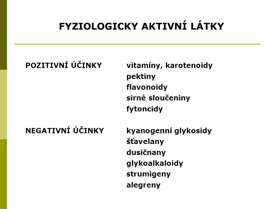 FYZIOLOGICKY AKTIVNÍ LÁTKY POZITIVNÍ ÚČINKYvitamíny, karotenoidy pektiny flavonoidy sirné sloučeniny fytoncidy NEGATIVNÍ ÚČINKYkyanogenní glykosidy šťavelany dusičnany glykoalkaloidy strumigeny alegreny