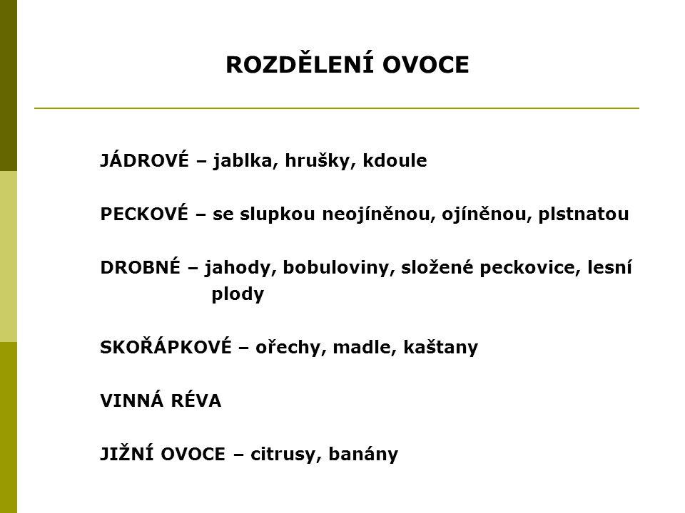 PRODUKCE OVOCE SPOTŘEBA V ČR 70 kg/os/rok DOPORUČENÁ SPOTŘEBA80 – 100 CELKOVÁ SKLIZEŇ OVOCE 400 000 t 50 mil.