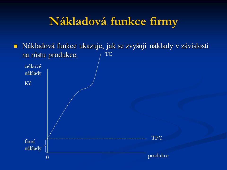 Nákladová funkce firmy Nákladová funkce ukazuje, jak se zvyšují náklady v závislosti na růstu produkce. Nákladová funkce ukazuje, jak se zvyšují nákla