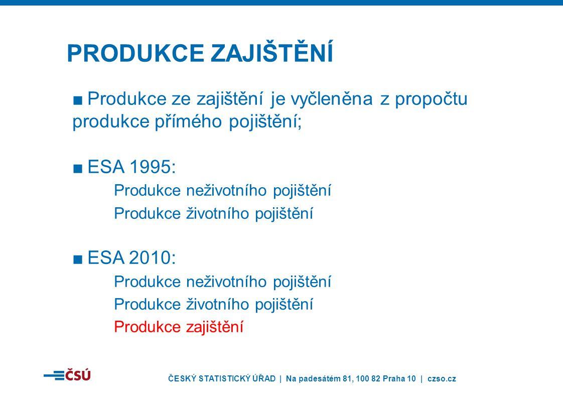 ČESKÝ STATISTICKÝ ÚŘAD | Na padesátém 81, 100 82 Praha 10 | czso.cz ■Produkce ze zajištění je vyčleněna z propočtu produkce přímého pojištění; ■ESA 1995: Produkce neživotního pojištění Produkce životního pojištění ■ESA 2010: Produkce neživotního pojištění Produkce životního pojištění Produkce zajištění PRODUKCE ZAJIŠTĚNÍ
