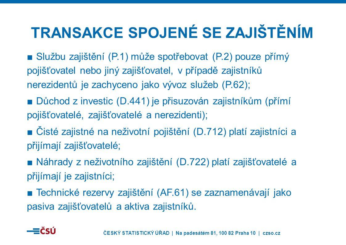 ČESKÝ STATISTICKÝ ÚŘAD | Na padesátém 81, 100 82 Praha 10 | czso.cz ■Službu zajištění (P.1) může spotřebovat (P.2) pouze přímý pojišťovatel nebo jiný zajišťovatel, v případě zajistníků nerezidentů je zachyceno jako vývoz služeb (P.62); ■Důchod z investic (D.441) je přisuzován zajistníkům (přímí pojišťovatelé, zajišťovatelé a nerezidenti); ■Čisté zajistné na neživotní pojištění (D.712) platí zajistníci a přijímají zajišťovatelé; ■Náhrady z neživotního zajištění (D.722) platí zajišťovatelé a přijímají je zajistníci; ■Technické rezervy zajištění (AF.61) se zaznamenávají jako pasiva zajišťovatelů a aktiva zajistníků.