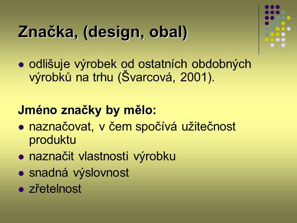 Značka, (design, obal) odlišuje výrobek od ostatních obdobných výrobků na trhu (Švarcová, 2001). Jméno značky by mělo: naznačovat, v čem spočívá užite