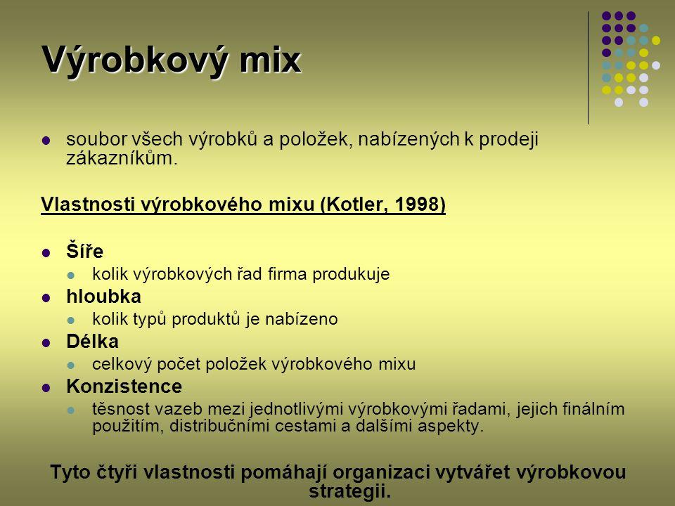 Výrobkový mix soubor všech výrobků a položek, nabízených k prodeji zákazníkům. Vlastnosti výrobkového mixu (Kotler, 1998) Šíře kolik výrobkových řad f