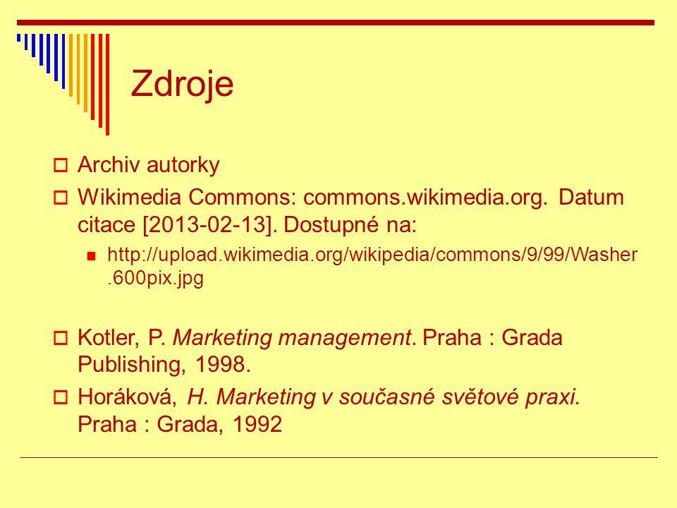Zdroje  Archiv autorky  Wikimedia Commons: commons.wikimedia.org. Datum citace [2013-02-13]. Dostupné na: http://upload.wikimedia.org/wikipedia/comm