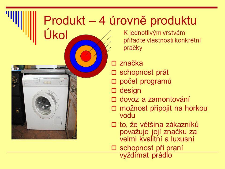 Produkt – 4 úrovně produktu Úkol  značka  schopnost prát  počet programů  design  dovoz a zamontování  možnost připojit na horkou vodu  to, že