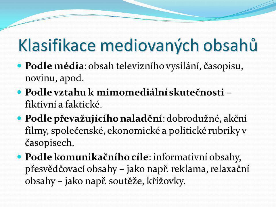 Klasifikace mediovaných obsahů Podle média: obsah televizního vysílání, časopisu, novinu, apod. Podle vztahu k mimomediální skutečnosti – fiktivní a f