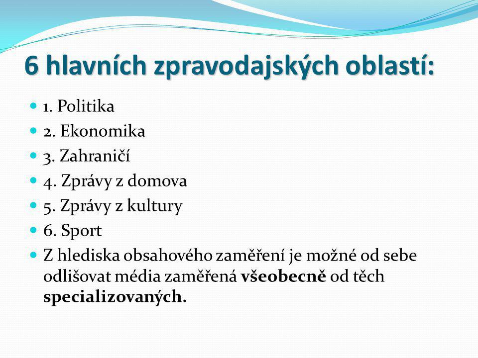 6 hlavních zpravodajských oblastí: 1. Politika 2. Ekonomika 3. Zahraničí 4. Zprávy z domova 5. Zprávy z kultury 6. Sport Z hlediska obsahového zaměřen