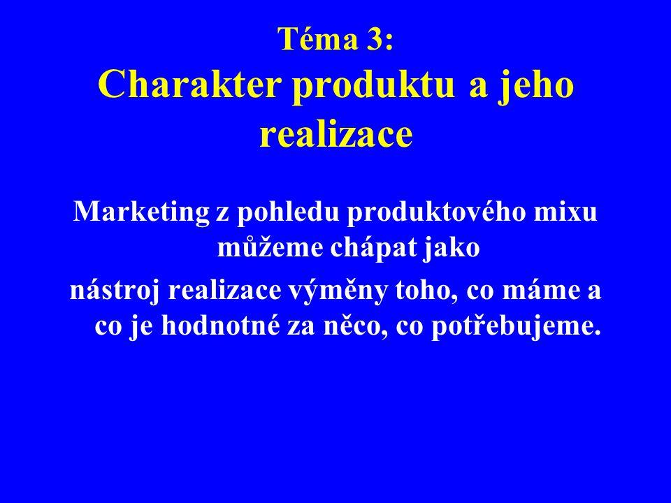 Téma 3: Charakter produktu a jeho realizace Marketing z pohledu produktového mixu můžeme chápat jako nástroj realizace výměny toho, co máme a co je ho