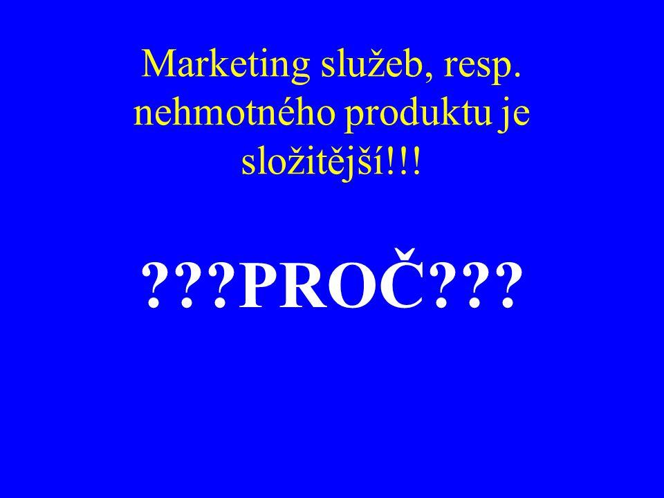 Marketing služeb, resp. nehmotného produktu je složitější!!! ???PROČ???
