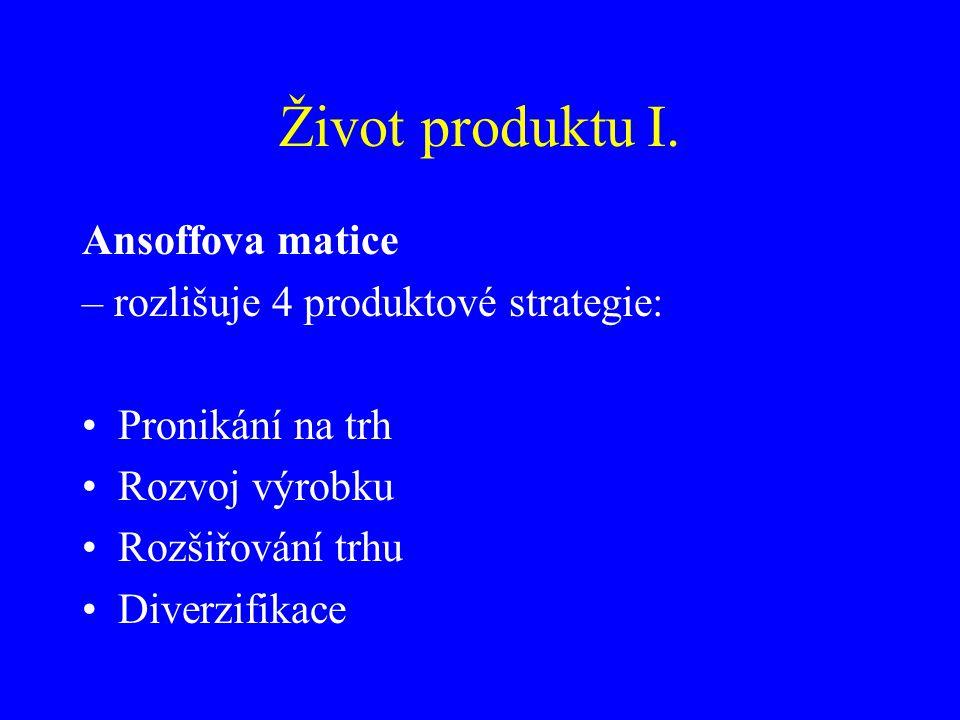 Život produktu I. Ansoffova matice – rozlišuje 4 produktové strategie: Pronikání na trh Rozvoj výrobku Rozšiřování trhu Diverzifikace