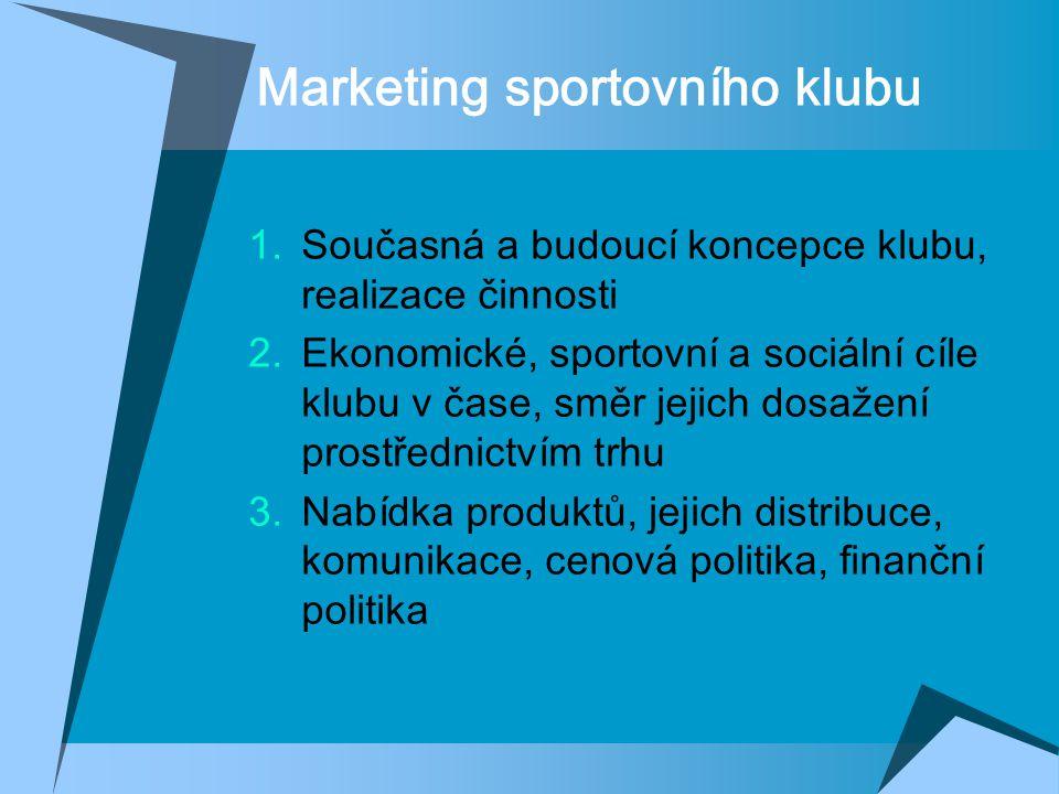 Marketing sportovního klubu  Současná a budoucí koncepce klubu, realizace činnosti  Ekonomické, sportovní a sociální cíle klubu v čase, směr jejich dosažení prostřednictvím trhu  Nabídka produktů, jejich distribuce, komunikace, cenová politika, finanční politika