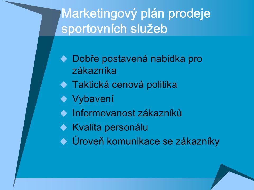 Marketingový plán prodeje sportovních služeb  Dobře postavená nabídka pro zákazníka  Taktická cenová politika  Vybavení  Informovanost zákazníků  Kvalita personálu  Úroveň komunikace se zákazníky