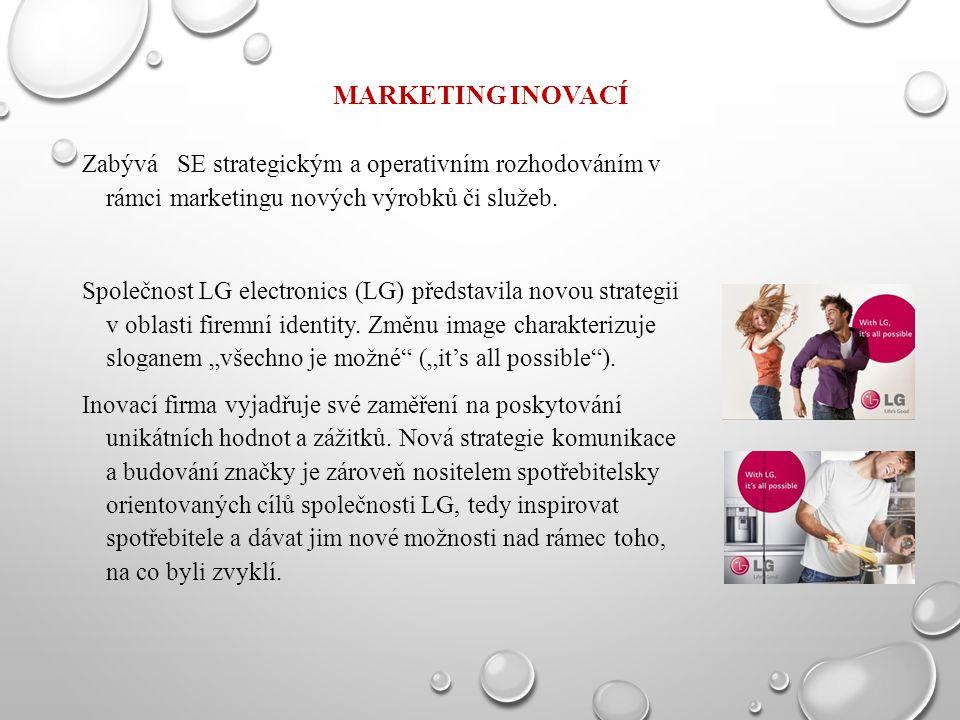 MARKETING INOVACÍ Zabývá SE strategickým a operativním rozhodováním v rámci marketingu nových výrobků či služeb. Společnost LG electronics (LG) předst