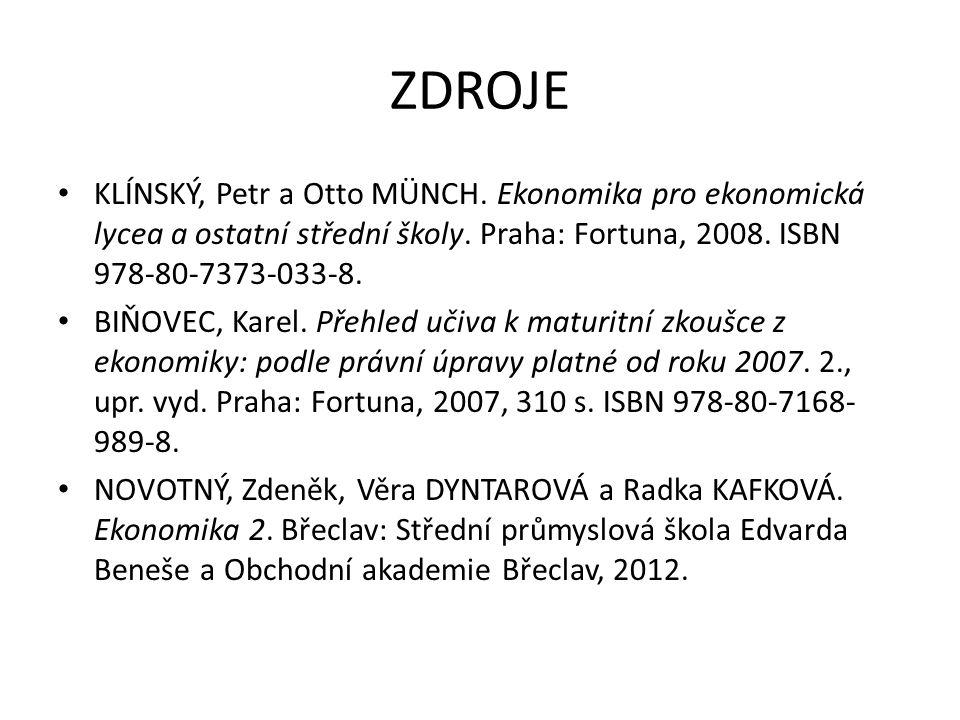 ZDROJE KLÍNSKÝ, Petr a Otto MÜNCH.Ekonomika pro ekonomická lycea a ostatní střední školy.