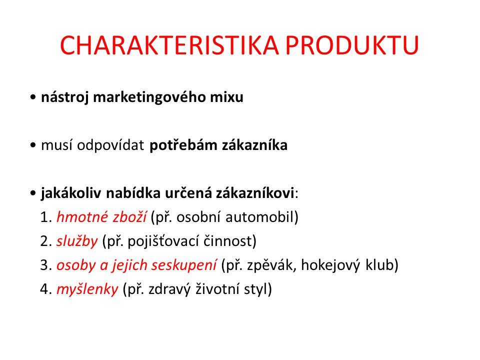 CHARAKTERISTIKA PRODUKTU nástroj marketingového mixu musí odpovídat potřebám zákazníka jakákoliv nabídka určená zákazníkovi: 1.