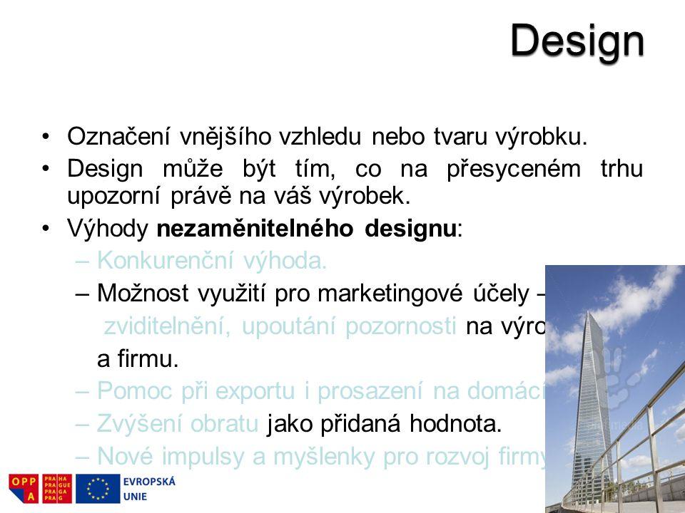 Označení vnějšího vzhledu nebo tvaru výrobku.