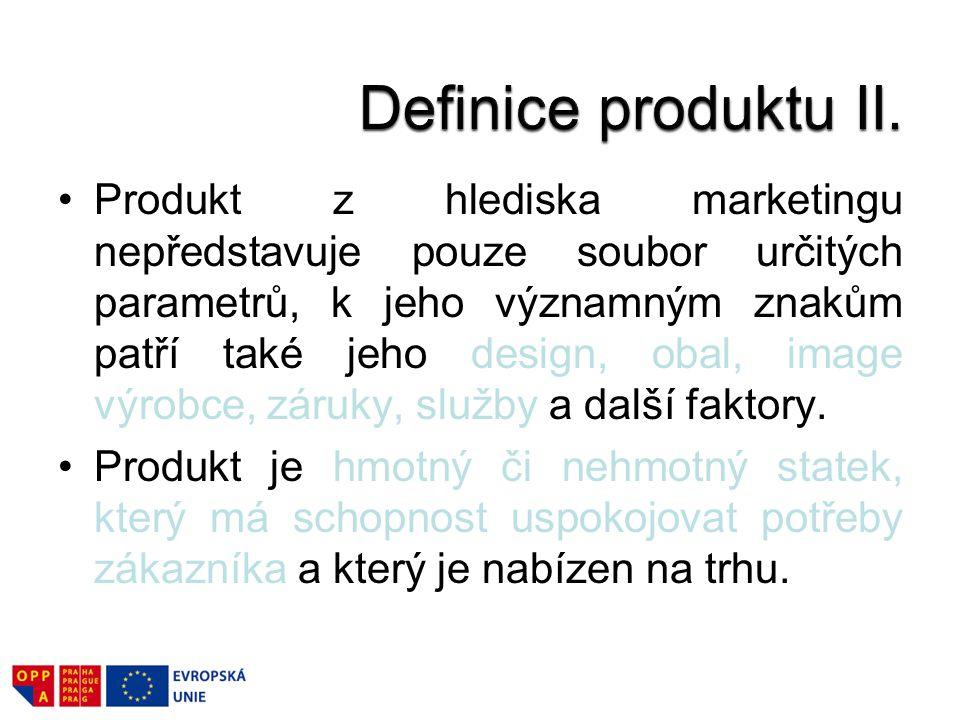 Produkt z hlediska marketingu nepředstavuje pouze soubor určitých parametrů, k jeho významným znakům patří také jeho design, obal, image výrobce, záruky, služby a další faktory.