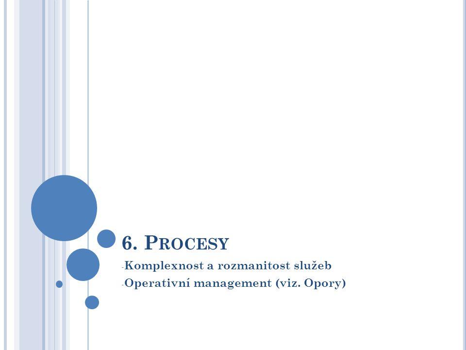6. P ROCESY - Komplexnost a rozmanitost služeb - Operativní management (viz. Opory)