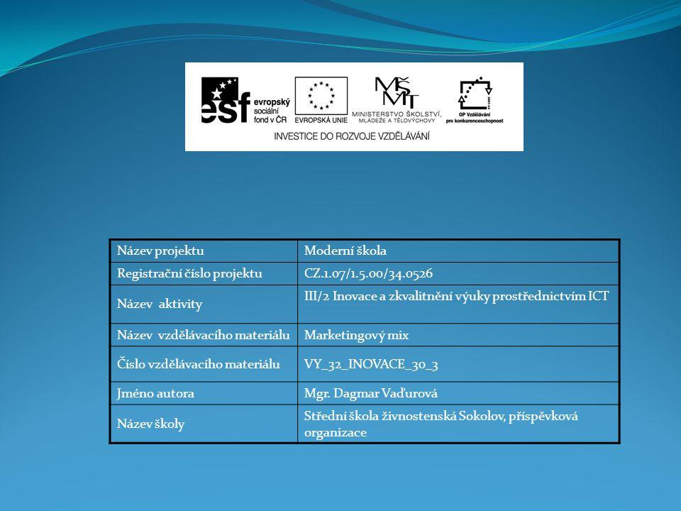 Název projektuModerní škola Registrační číslo projektuCZ.1.07/1.5.00/34.0526 Název aktivity III/2 Inovace a zkvalitnění výuky prostřednictvím ICT Název vzdělávacího materiáluMarketingový mix Číslo vzdělávacího materiáluVY_32_INOVACE_30_3 Jméno autoraMgr.