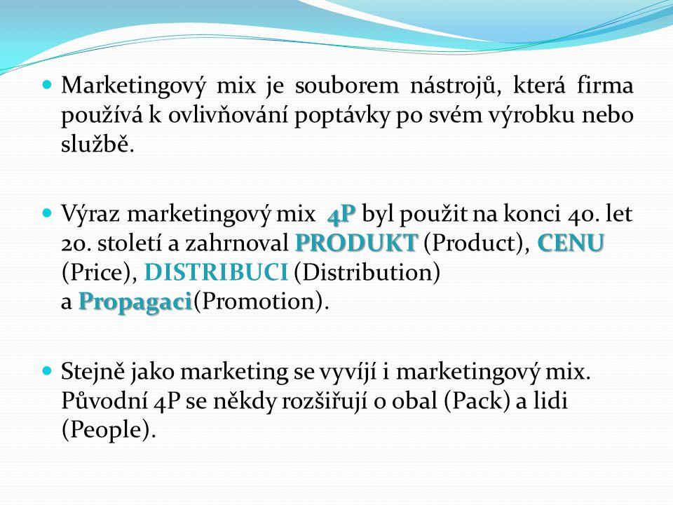 Používání marketingového mixu Marketingový mix Marketingový mix představuje a konkretizuje všechny kroky, které organizace dělá, aby vzbudila poptávku po produktu.