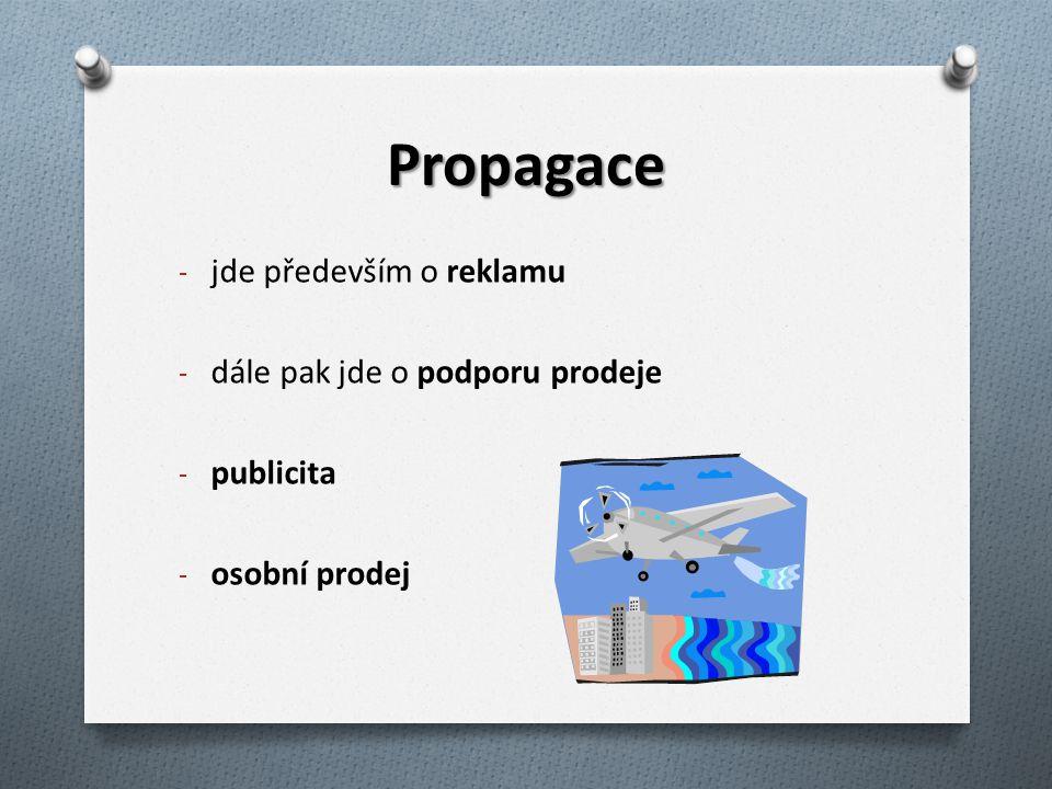 Propagace - jde především o reklamu - dále pak jde o podporu prodeje - publicita - osobní prodej