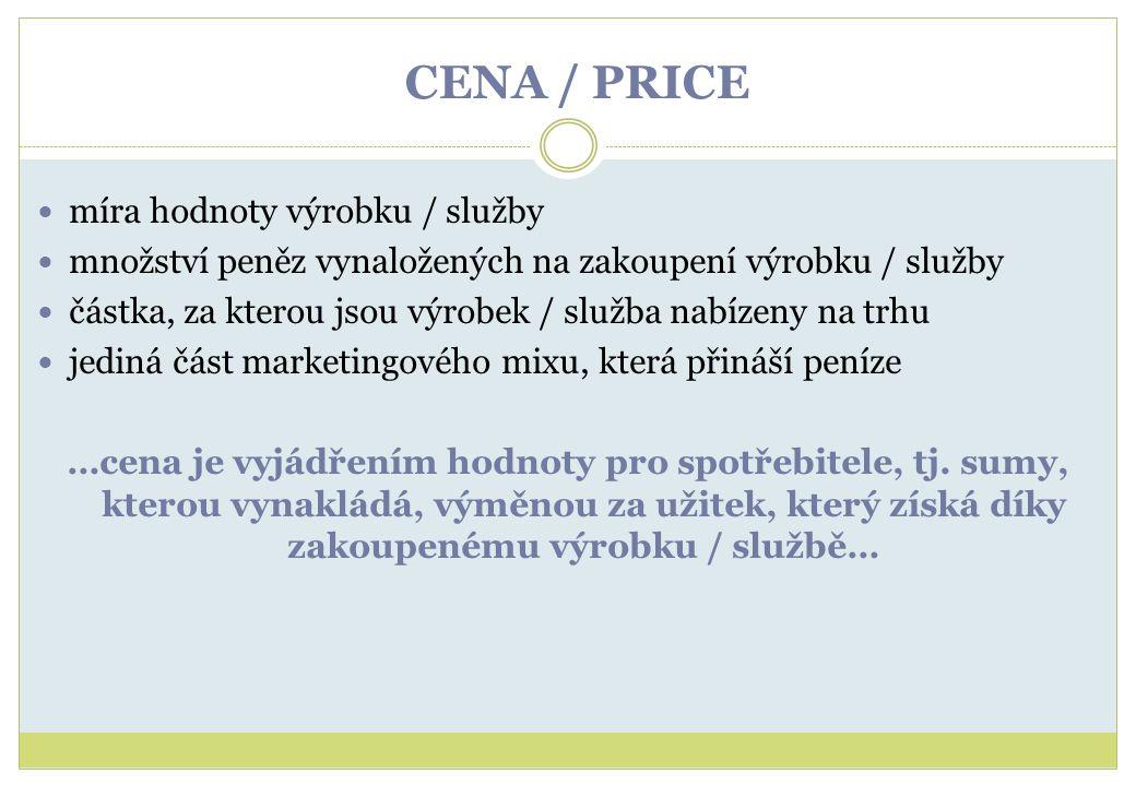 CENA / PRICE míra hodnoty výrobku / služby množství peněz vynaložených na zakoupení výrobku / služby částka, za kterou jsou výrobek / služba nabízeny