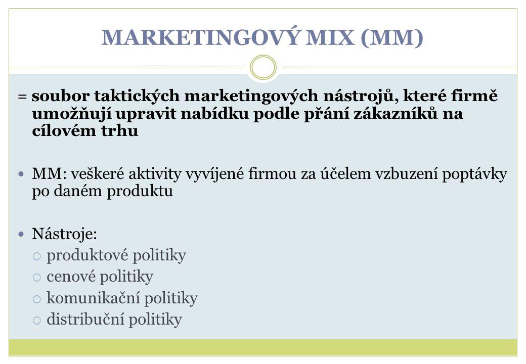 MARKETINGOVÝ MIX (MM) = soubor taktických marketingových nástrojů, které firmě umožňují upravit nabídku podle přání zákazníků na cílovém trhu MM: vešk
