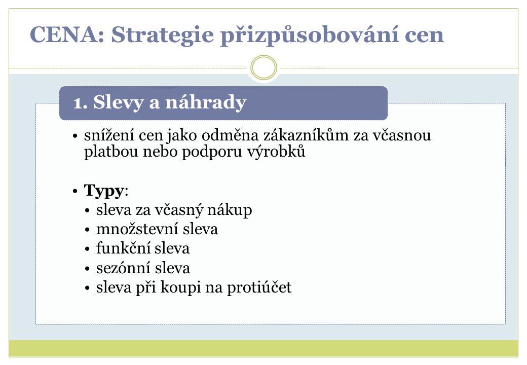 CENA: Strategie přizpůsobování cen snížení cen jako odměna zákazníkům za včasnou platbou nebo podporu výrobků Typy: sleva za včasný nákup množstevní s