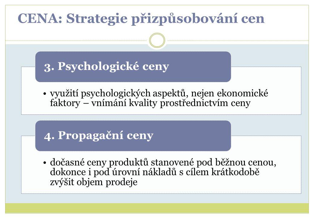 CENA: Strategie přizpůsobování cen využití psychologických aspektů, nejen ekonomické faktory – vnímání kvality prostřednictvím ceny 3. Psychologické c