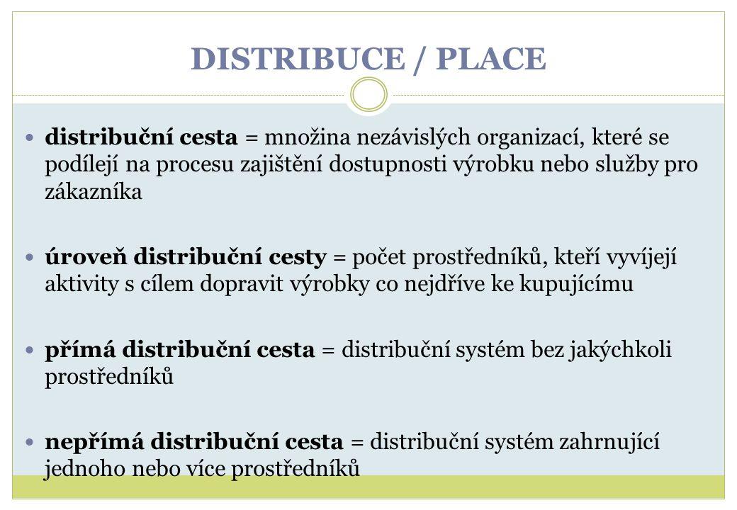 DISTRIBUCE / PLACE distribuční cesta = množina nezávislých organizací, které se podílejí na procesu zajištění dostupnosti výrobku nebo služby pro záka