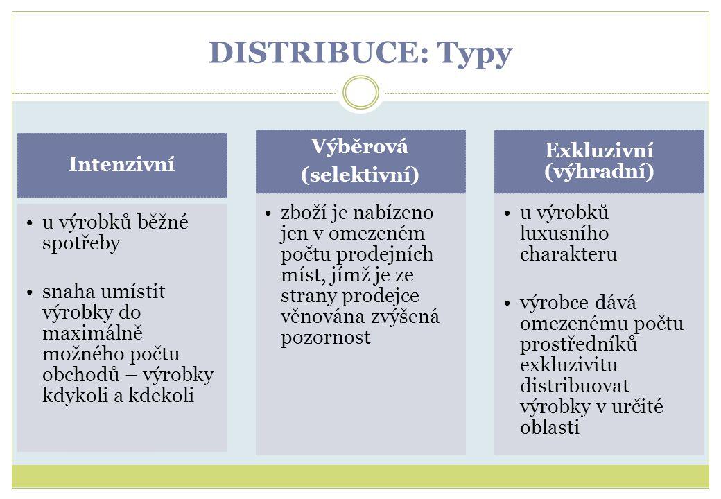 DISTRIBUCE: Typy Intenzivní u výrobků běžné spotřeby snaha umístit výrobky do maximálně možného počtu obchodů – výrobky kdykoli a kdekoli Výběrová (se