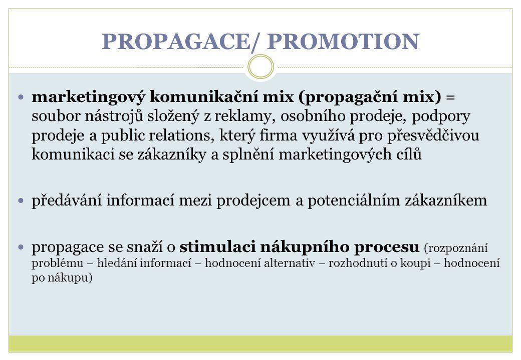 PROPAGACE/ PROMOTION marketingový komunikační mix (propagační mix) = soubor nástrojů složený z reklamy, osobního prodeje, podpory prodeje a public rel