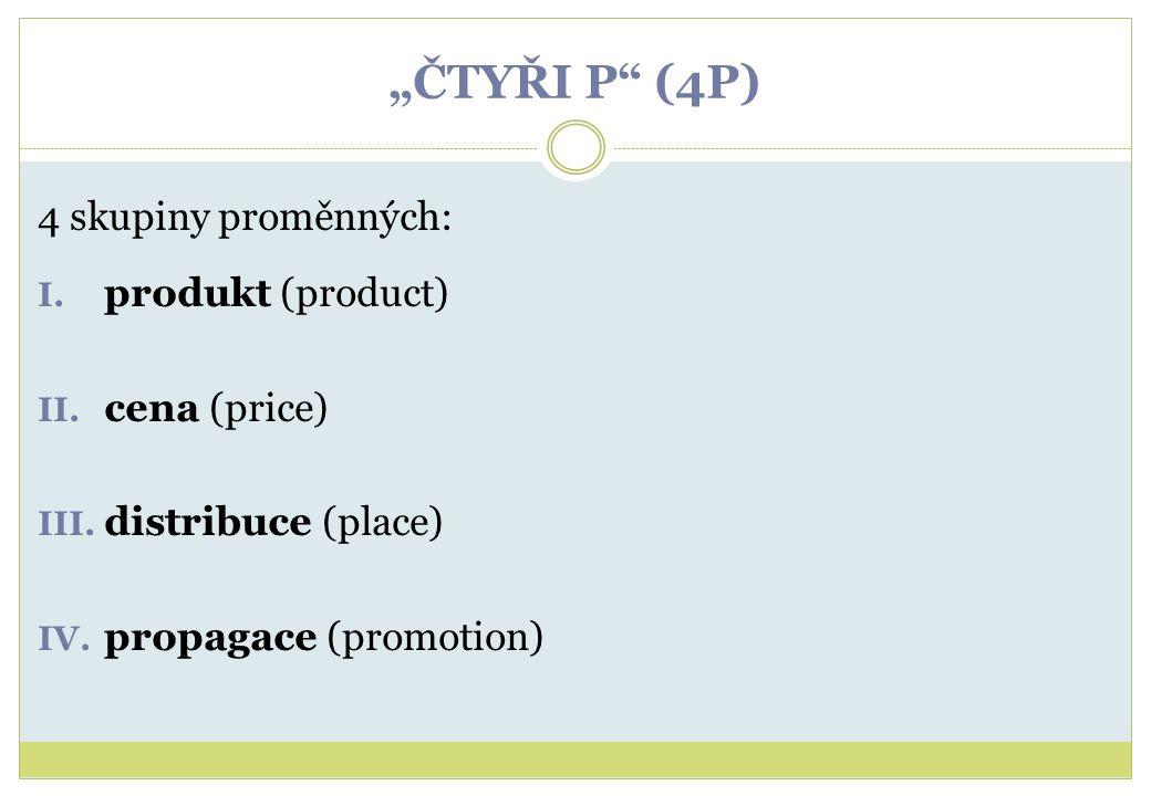 """""""ČTYŘI P"""" (4P) 4 skupiny proměnných: I. produkt (product) II. cena (price) III. distribuce (place) IV. propagace (promotion)"""