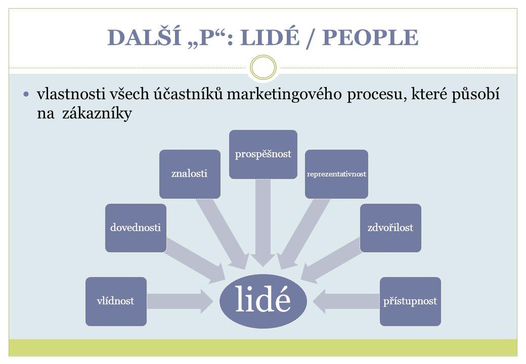 """DALŠÍ """"P"""": LIDÉ / PEOPLE vlastnosti všech účastníků marketingového procesu, které působí na zákazníky lidé vlídnostdovednostiznalostiprospěšnost repre"""