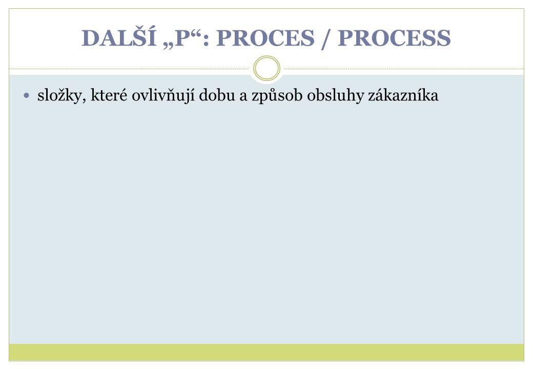 """DALŠÍ """"P"""": PROCES / PROCESS složky, které ovlivňují dobu a způsob obsluhy zákazníka"""
