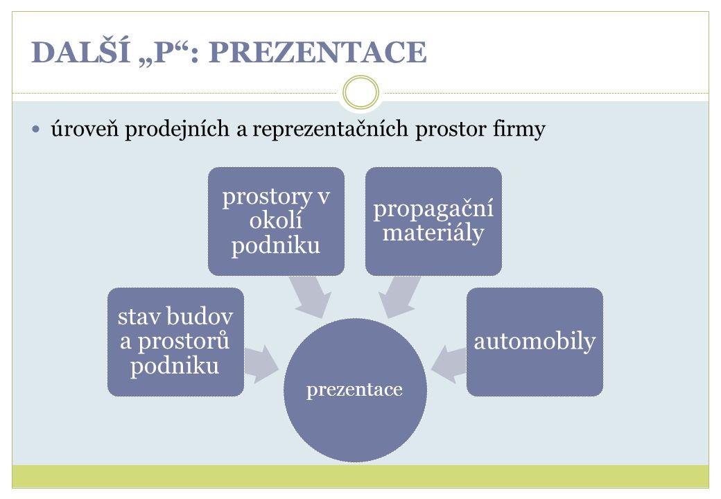 """DALŠÍ """"P"""": PREZENTACE úroveň prodejních a reprezentačních prostor firmy prezentace stav budov a prostorů podniku prostory v okolí podniku propagační m"""