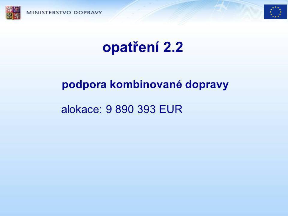 opatření 2.2 podpora kombinované dopravy alokace: 9 890 393 EUR