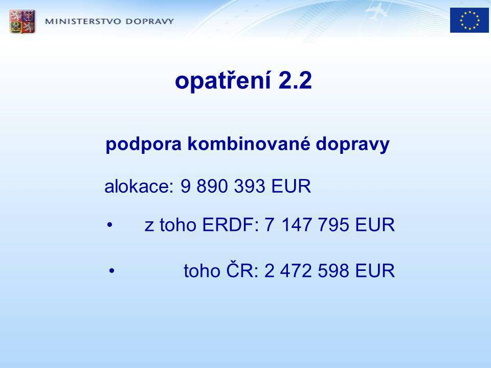 opatření 2.2 podpora kombinované dopravy alokace: 9 890 393 EUR z toho ERDF: 7 147 795 EUR toho ČR: 2 472 598 EUR
