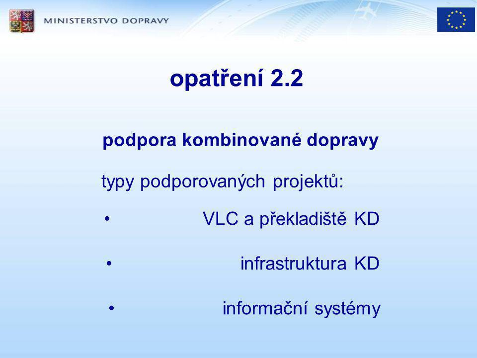 opatření 2.2 podpora kombinované dopravy typy podporovaných projektů: VLC a překladiště KD infrastruktura KD informační systémy