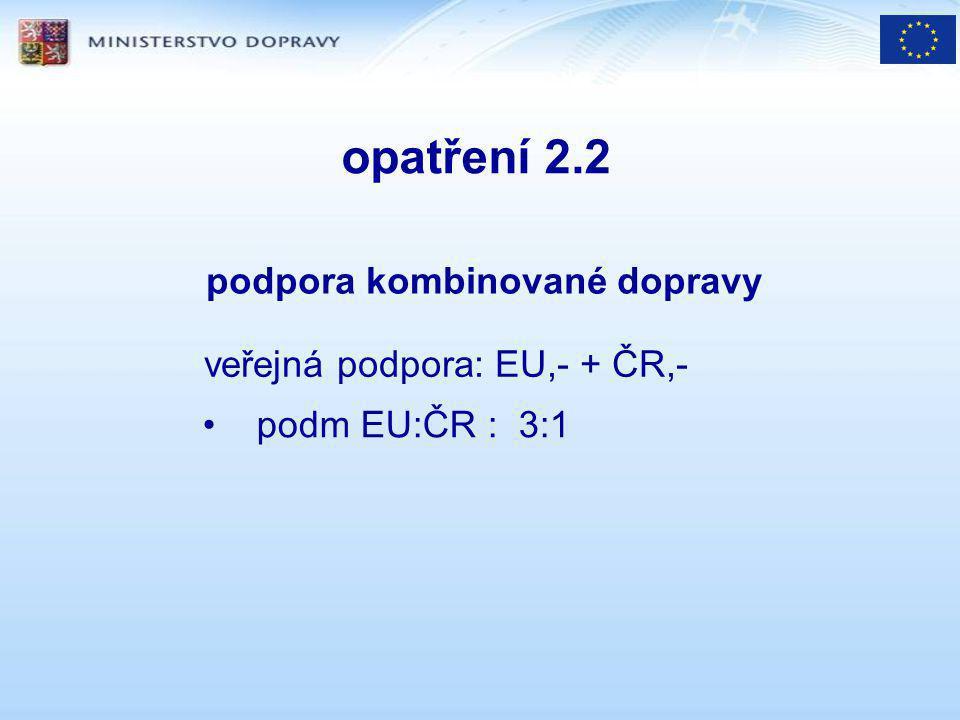 opatření 2.2 podpora kombinované dopravy veřejná podpora: EU,- + ČR,- podm EU:ČR : 3:1