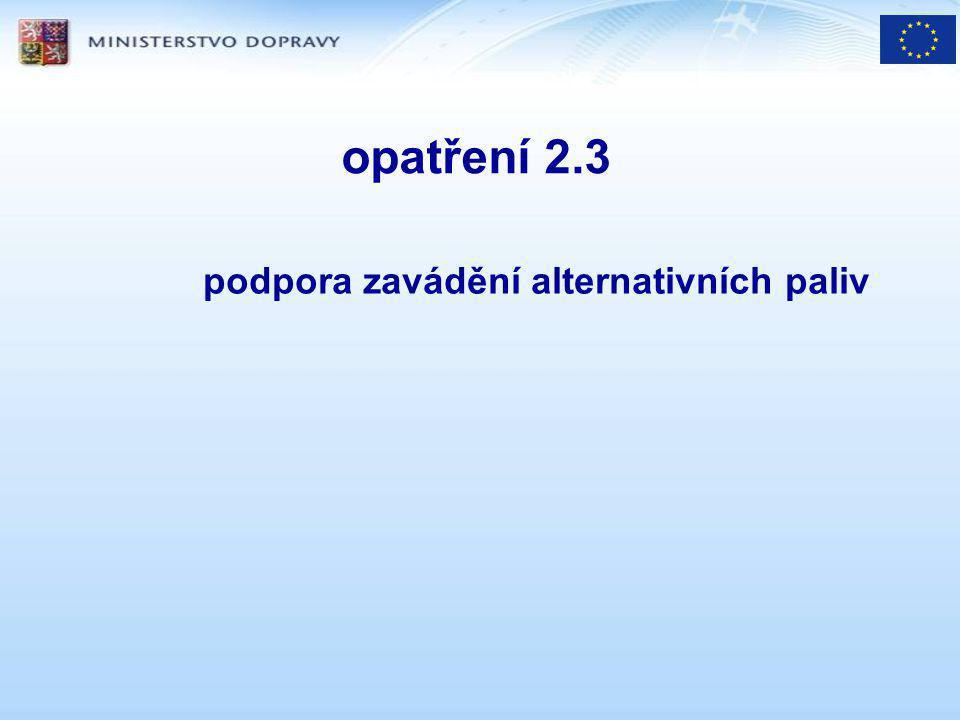 opatření 2.3 podpora zavádění alternativních paliv
