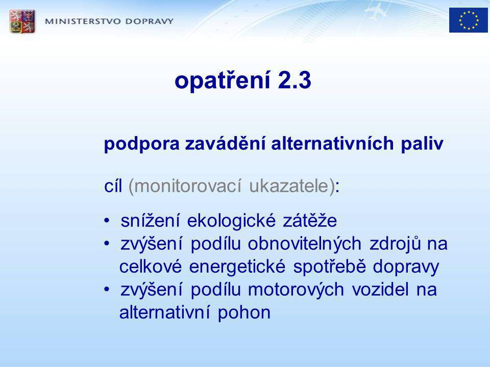 opatření 2.3 cíl (monitorovací ukazatele): podpora zavádění alternativních paliv snížení ekologické zátěže zvýšení podílu obnovitelných zdrojů na celkové energetické spotřebě dopravy zvýšení podílu motorových vozidel na alternativní pohon
