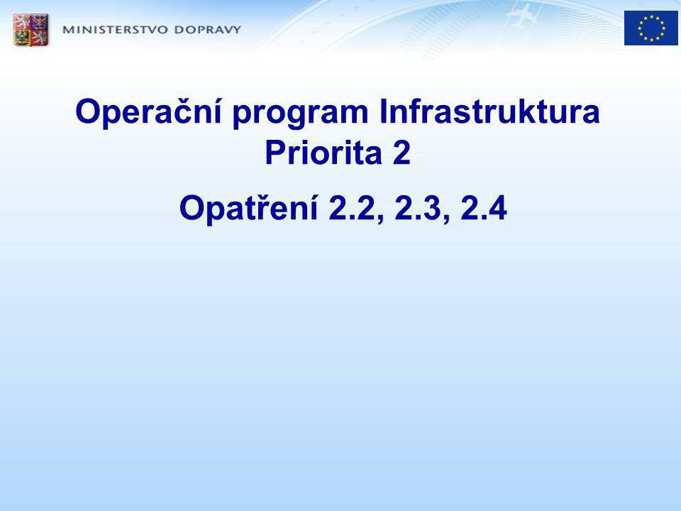 opatření 2.2 podpora kombinované dopravy veřejná podpora: EU,- + ČR,- podm EU:ČR : 3:1 spolufinancování ČR: MD – Program podpory KD (dokumentace v notifikaci)