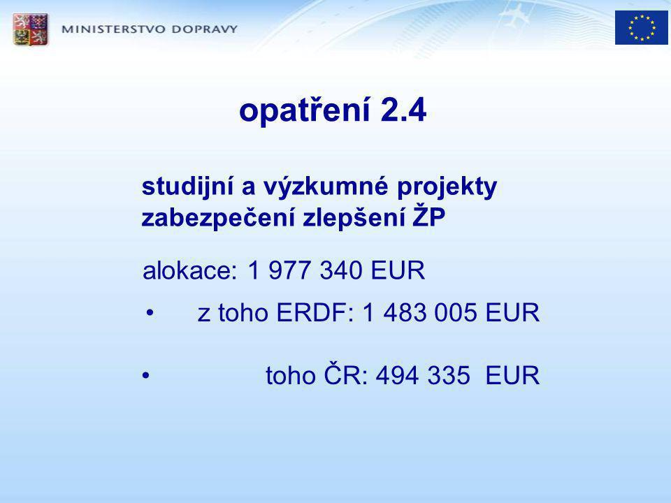 opatření 2.4 studijní a výzkumné projekty zabezpečení zlepšení ŽP alokace: 1 977 340 EUR z toho ERDF: 1 483 005 EUR toho ČR: 494 335 EUR