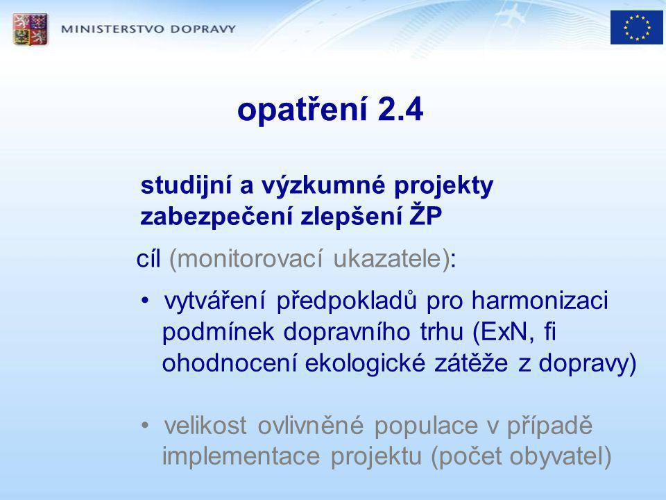 opatření 2.4 studijní a výzkumné projekty zabezpečení zlepšení ŽP vytváření předpokladů pro harmonizaci podmínek dopravního trhu (ExN, fi ohodnocení ekologické zátěže z dopravy) velikost ovlivněné populace v případě implementace projektu (počet obyvatel) cíl (monitorovací ukazatele):