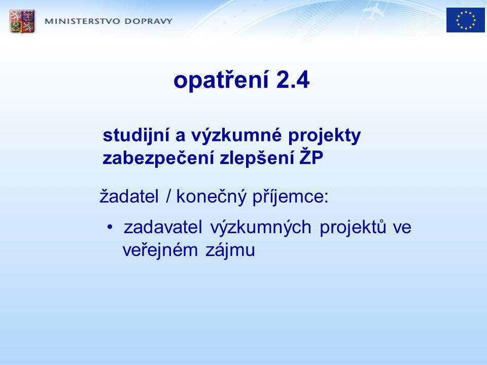 opatření 2.4 studijní a výzkumné projekty zabezpečení zlepšení ŽP žadatel / konečný příjemce: zadavatel výzkumných projektů ve veřejném zájmu