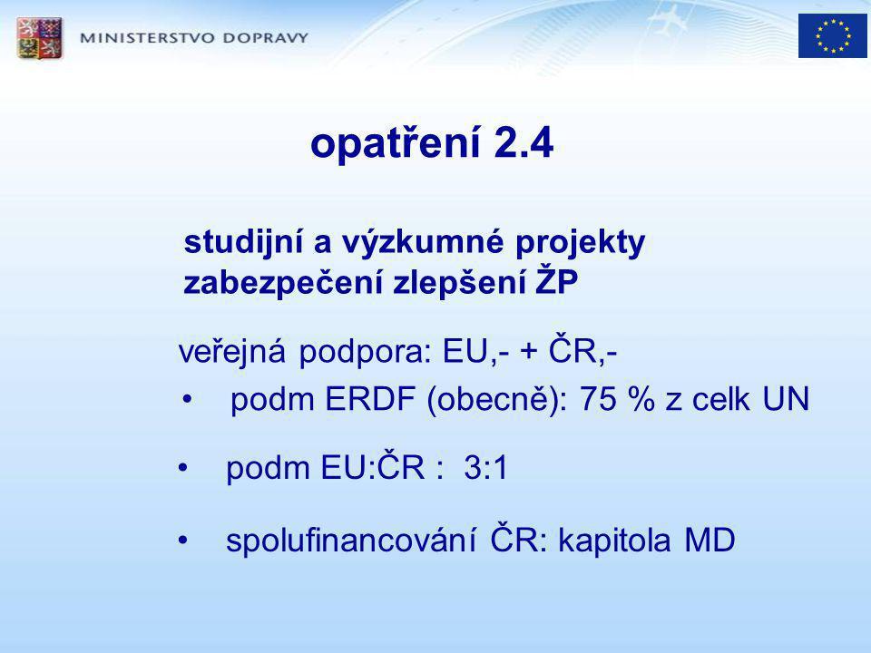 opatření 2.4 studijní a výzkumné projekty zabezpečení zlepšení ŽP veřejná podpora: EU,- + ČR,- podm ERDF (obecně): 75 % z celk UN podm EU:ČR : 3:1 spolufinancování ČR: kapitola MD
