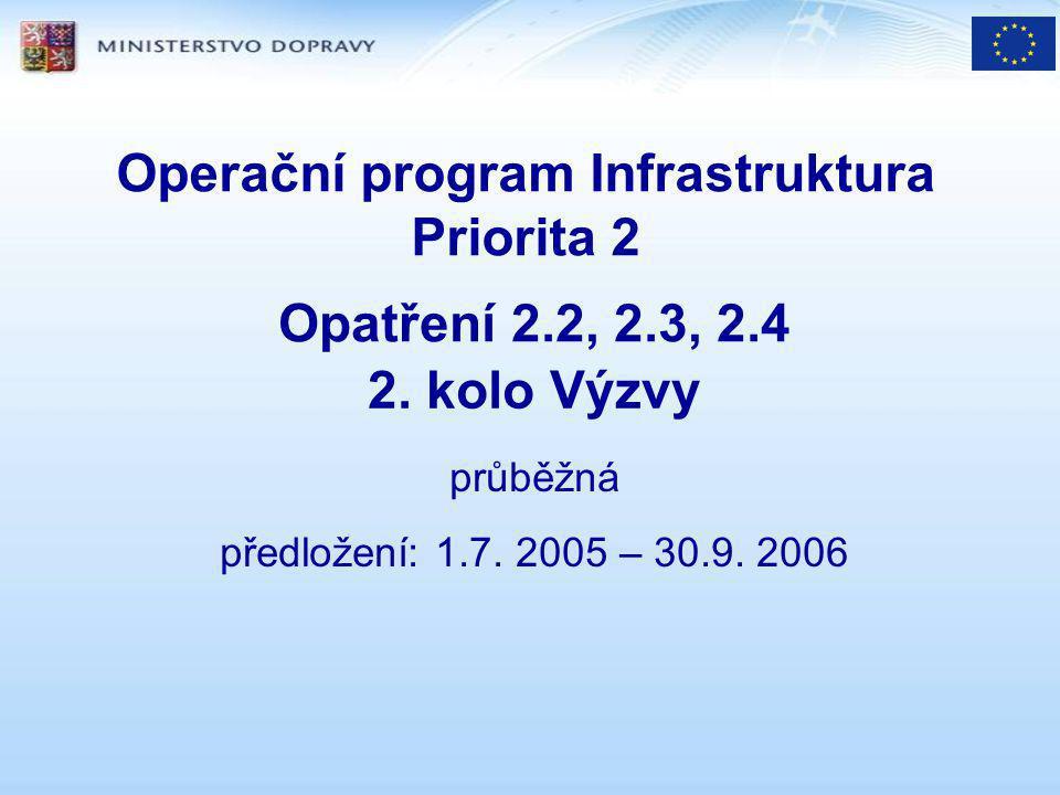 Operační program Infrastruktura Priorita 2 Opatření 2.2, 2.3, 2.4 2.